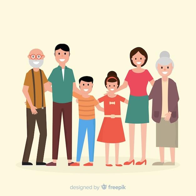 Portrait de famille à plat Vecteur gratuit