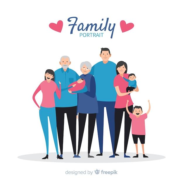 Portrait de famille simple Vecteur gratuit