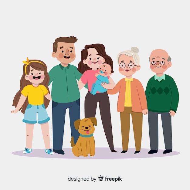 Portrait de famille souriant dessiné à la main Vecteur gratuit