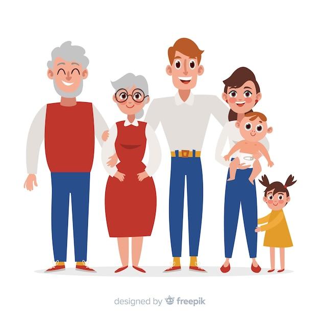 Portrait de famille Vecteur gratuit