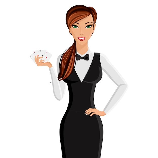 Portrait de femme casino dealer Vecteur Premium
