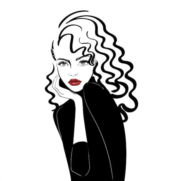 Portrait, femme, long, cheveux bouclés Vecteur Premium