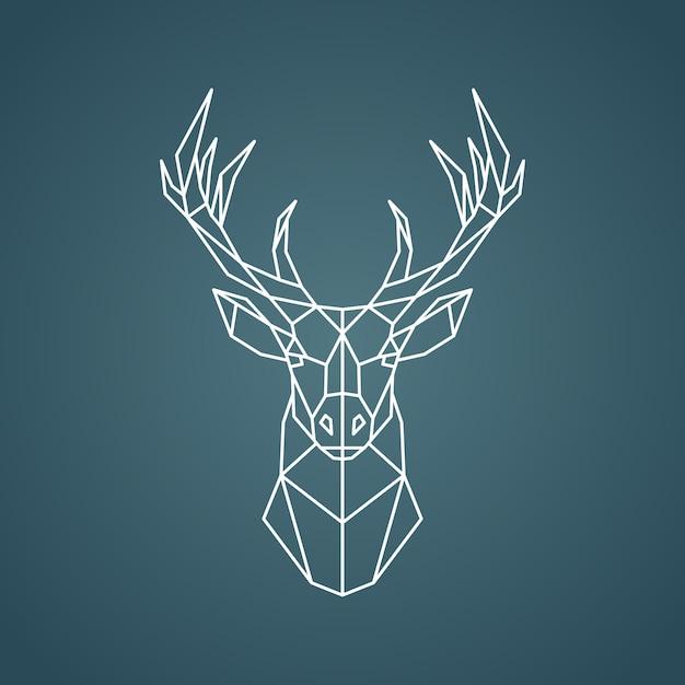 Portrait géométrique de cerf. Vecteur Premium