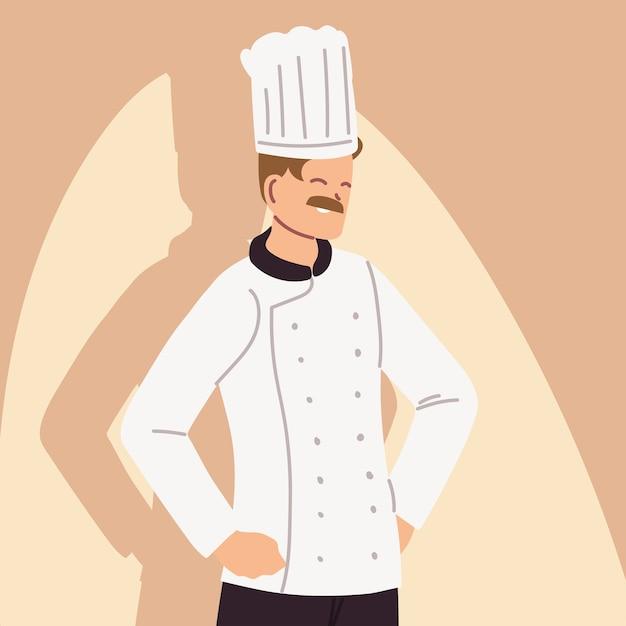 Portrait D'homme Chef Dans La Conception D'illustration Uniforme De Travail Vecteur Premium