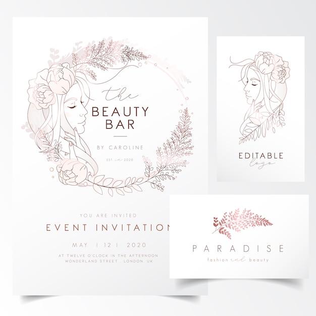 Portrait de jeune fille avec des feuilles et des fleurs pour le modèle d'invitation à un événement Vecteur Premium