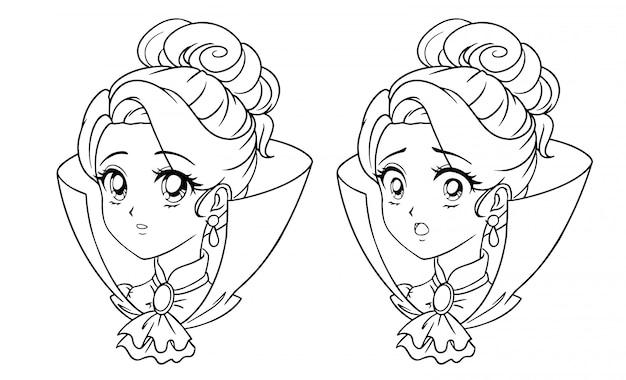 Portrait De Jeune Fille Vampire Manga Mignon. Deux Expressions Différentes. Illustration De Contour De Vecteur Dessiné Main Style Anime Rétro Des Années 90. Isolé. Vecteur Premium