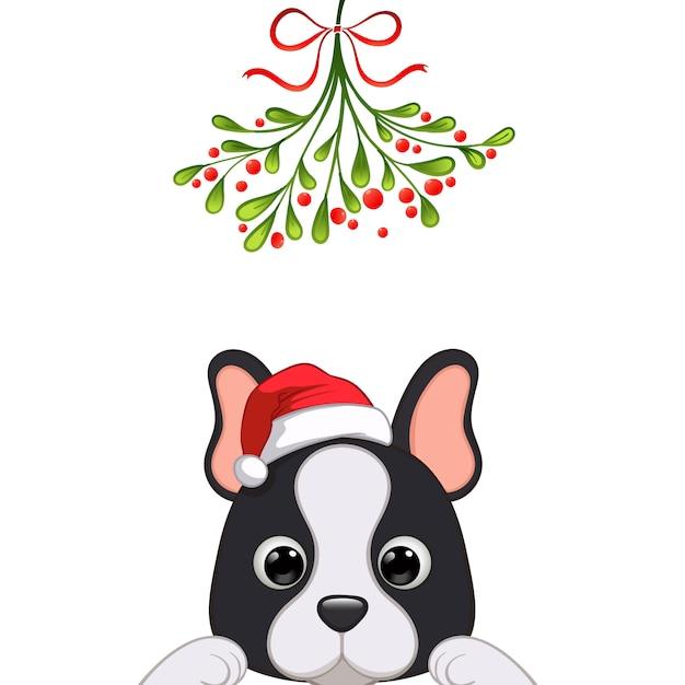 Portrait De Noël Du Personnage De Chien Mignon Vecteur Premium