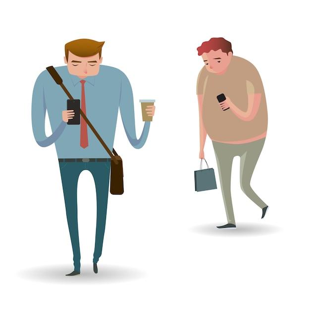 Portrait en pied de personnes marchant et textos ou parlant au téléphone intelligent. Vecteur Premium