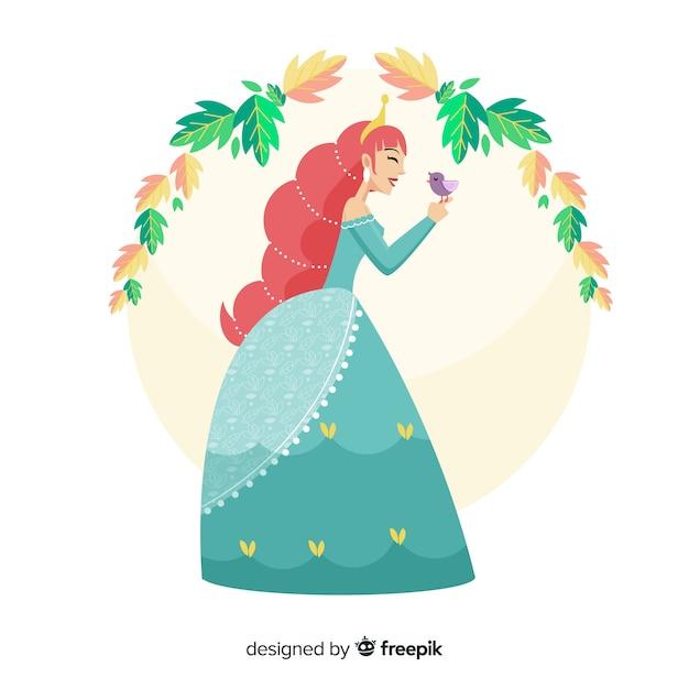 Portrait De Princesse Au Gingembre Dessiné à La Main Vecteur gratuit