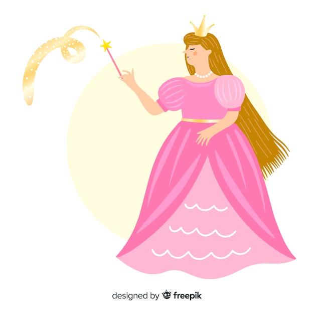 Portrait De Princesse Blonde Dessiné à La Main Vecteur gratuit
