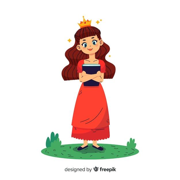 Portrait De Princesse Brune Dessiné à La Main Vecteur gratuit