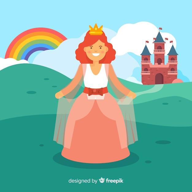 Portrait de princesse à plat Vecteur gratuit
