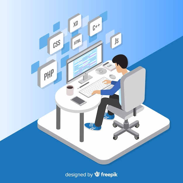 Portrait de programmeur travaillant avec pc Vecteur gratuit
