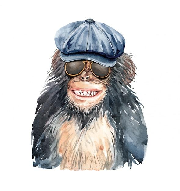 Portrait de singe aquarelle sourire avec un chapeau de vendeur de journaux. Vecteur Premium