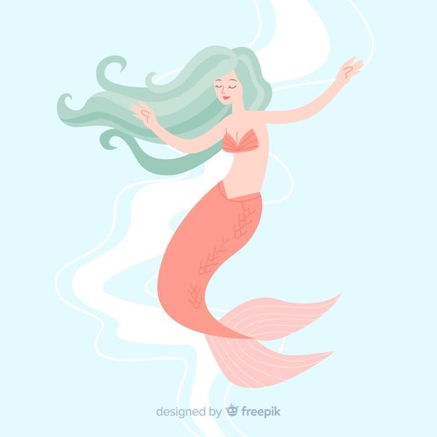 Portrait de sirène dessiné à la main Vecteur gratuit