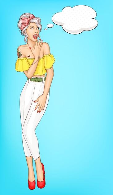 Portrait de vecteur étonnante jeune femme pop art Vecteur gratuit