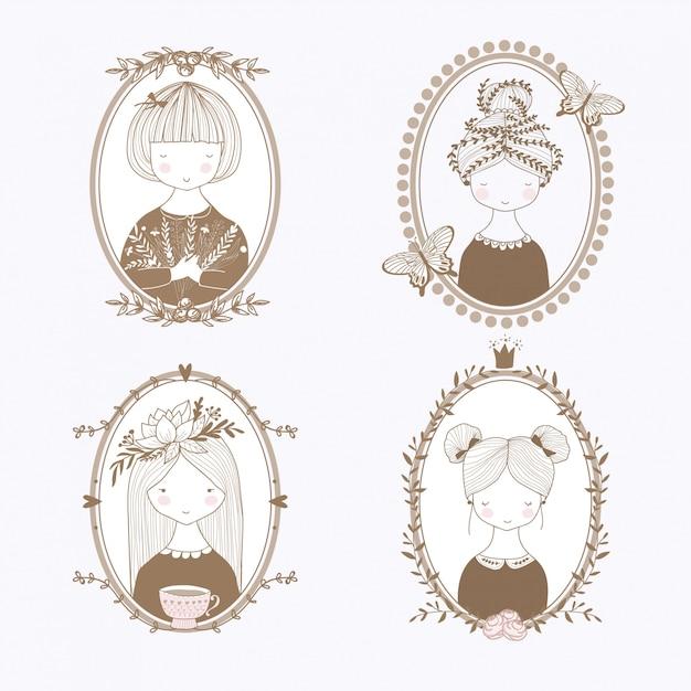 Portraits de filles dessinés à la main. cadres botaniques Vecteur Premium