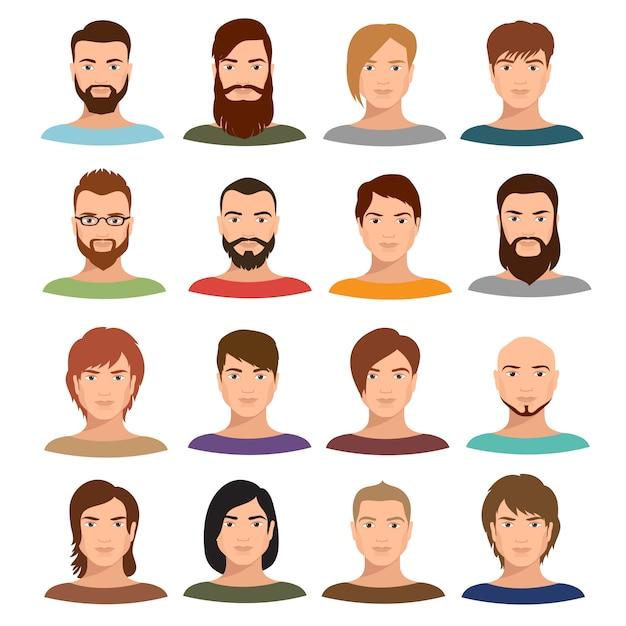 Portraits de mâles adultes vector collection. profil internet mans visages de dessin animé Vecteur Premium