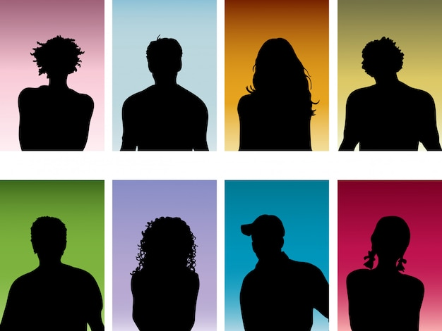 Portraits De Personnes Vecteur gratuit