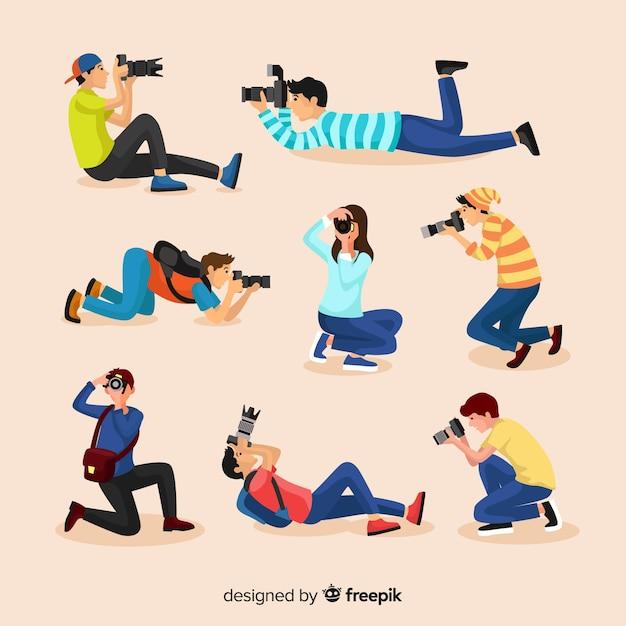 Pose de photographes au design plat Vecteur gratuit