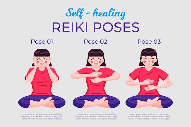 Poses De Reiki D'auto-guérison Vecteur gratuit
