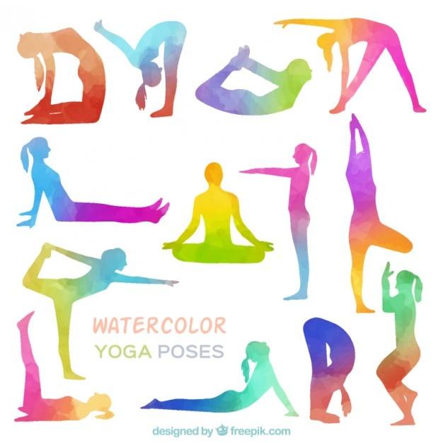 Poses De Yoga Aquarelle Vecteur gratuit