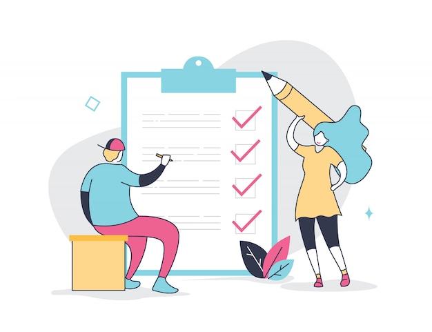 Positive petite femme et homme avec un crayon géant et son agenda Vecteur Premium