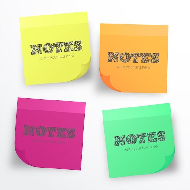 Post it collection pour les notes Vecteur gratuit