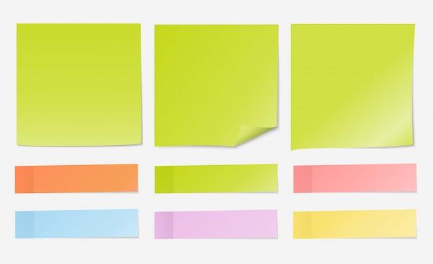 Post note papier vert clair avec jeu d'index Vecteur Premium