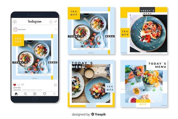 Poste culinaire instagram avec image Vecteur gratuit