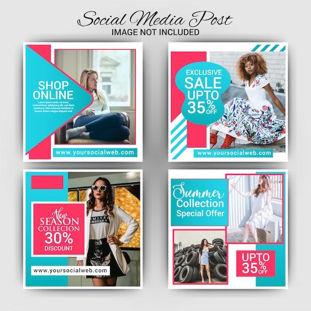 Poste de média social de mode créative Vecteur Premium