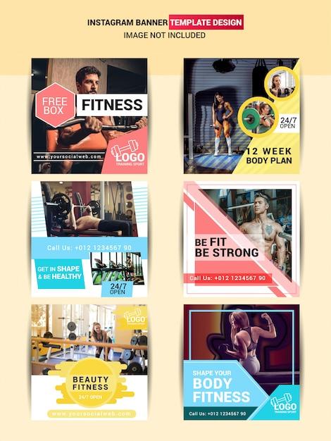 Poste sur les médias sociaux pour le gymnase et le fitness Vecteur Premium