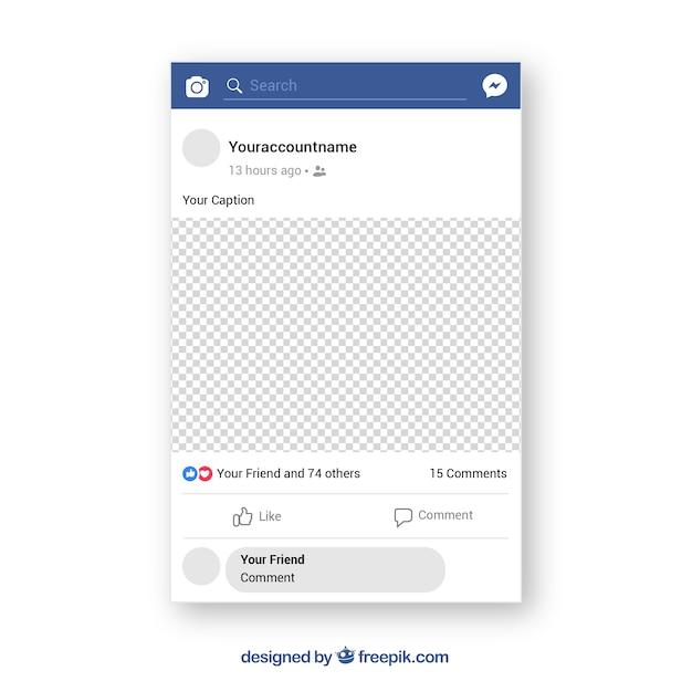 Poste mobile facebook avec un design plat Vecteur gratuit