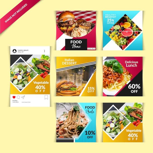 Poste de restaurant pour les médias sociaux Vecteur Premium