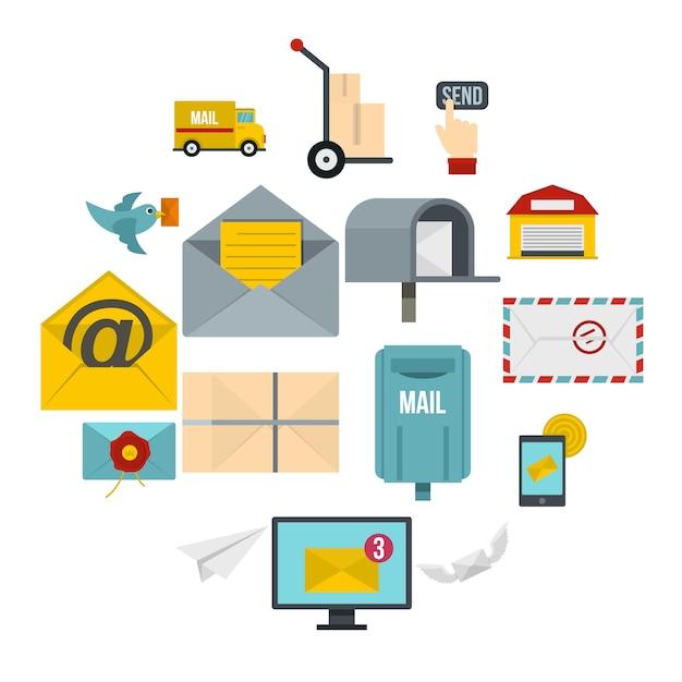 Poste Service Icônes Définies Dans Un Style Plat Vecteur Premium