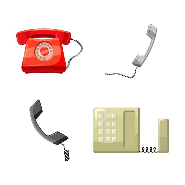 Poste téléphonique. jeu de dessin animé de téléphone Vecteur Premium