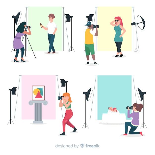 Poste de travail des photographes au design plat Vecteur gratuit