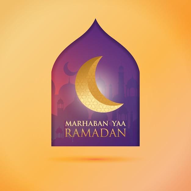 Poste de voeux du ramadan - le mois du ramadan Vecteur Premium