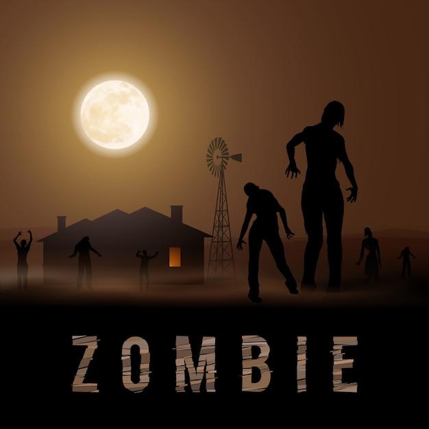 Poste Zombie Vecteur Premium