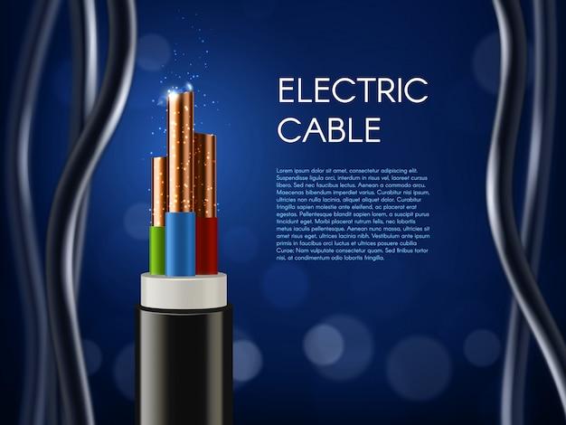 Poster Câble électrique Avec Conducteurs En Fil De Cuivre Vecteur Premium