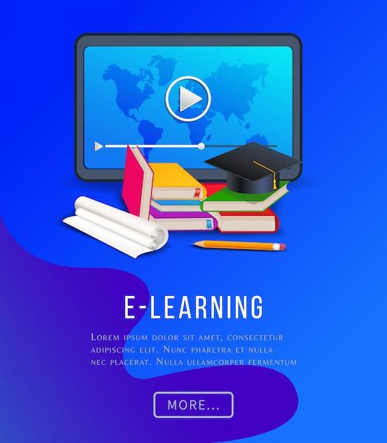 Poster éducatif E-learning Avec Tablette, Livres, Manuels Scolaires, Crayon Et Capuchon De Graduation. Vecteur Premium
