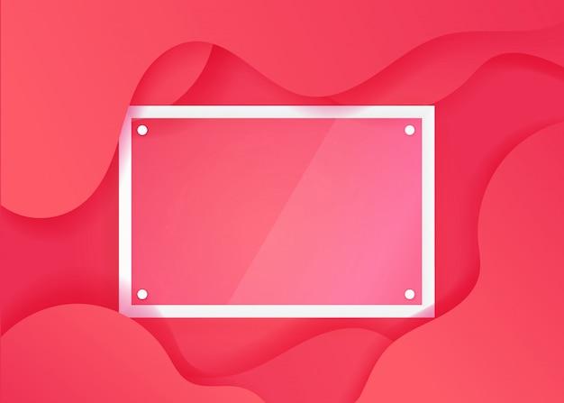 Poster fluide créatif avec cadre en verre transparent Vecteur Premium