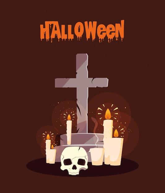 Poster halloween avec des bougies et un crâne Vecteur Premium