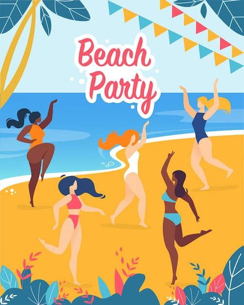 Poster invitation inscription beach party cartoon Vecteur Premium