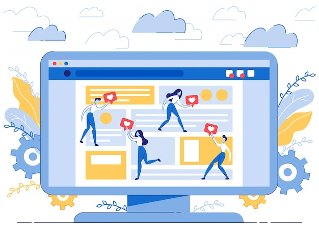 Poster like bot pour un blog de dessin animé Vecteur Premium