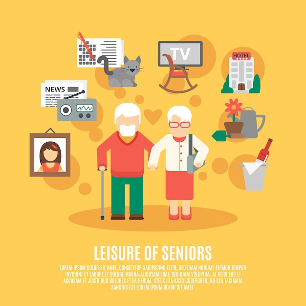 Poster plat senior Vecteur gratuit