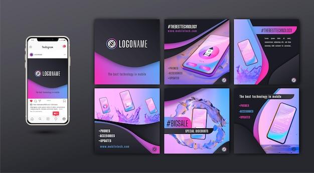 Postes Instagram Sur La Technologie Mobile Vecteur Premium