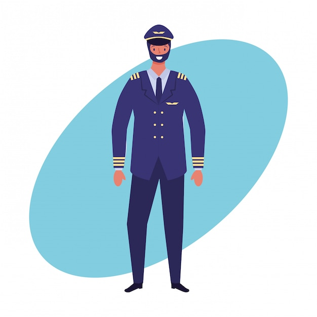 Postes de pilote d'avion et tirage au sort de la profession Vecteur Premium