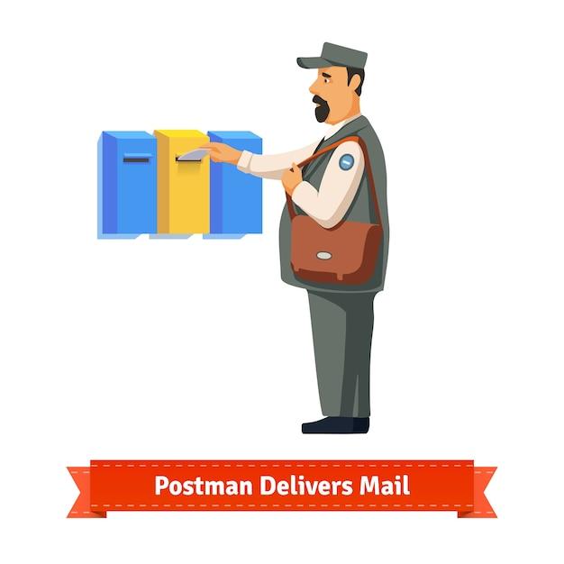 Postman livre une lettre dans une boîte aux lettres colorée Vecteur gratuit