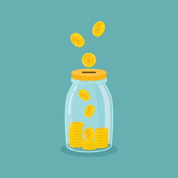 Pot d'argent. économiser de l'argent. enregistrez votre concept d'argent isolé sur fond bleu. Vecteur Premium